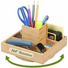 Office Supplies Desk Organizer Bamboo Spinning Desktop Darfoo Home Art Supply