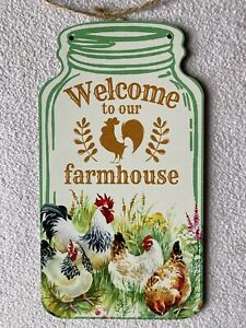 """NEW 8.25"""" x 4.5"""" Welcome To Our Farmhouse w/ Chickens Mason Jar Shape Wall Sign"""
