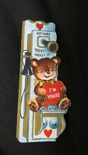 Vintage Wall Telephone & Bear Valentine Card c. 1950s unused