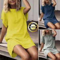 Summer Women Summer Loose Casual Solid Short Sleeve Cotton Linen Mini Dress Plus