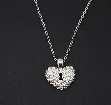 Charter Club Silver-Tone Crystal Heart Pendant Necklace