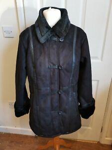 Size 14 Gabriella Vicenza Black Faux Suede / Sheepskin And Faux Fur Jacket Coat