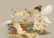 """Needlework Fairy Cross Stitch Kit 11 x 7"""" 16 Count Fairy and Teddy Bears Sewing"""