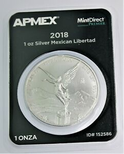 2018 Mexico Libertad Silver .999 1 Ounce Onza in Tamper Evident Packaging.