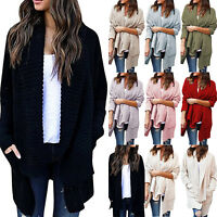 Women Winter Top Casual Knitted Baggy Cardigan Coat Jacket Chunky Sweater Jumper