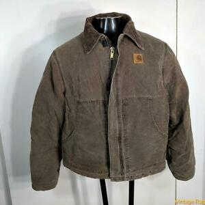 CARHARTT Denim Cotton WORK Jacket Mens Size L Brown zippered insulated