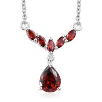 "925 Sterling Silver Cubic Zirconia CZ Garnet Necklace Women Jewelry 18"" Ct 3.1"