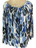Ruby Rd knit top Size XL beaded neckline blue white black 3/4 sleeve stretch