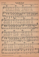 """Vintage WILLIAMS COLLEGE song sheet """"YARD BY YARD""""  1929 music"""