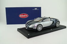 MR Collection 1:18; Bugatti Veyron EB 16.4; Silver & Met Blue; Excellent Boxed