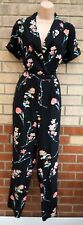 VERY BLACK PINK FLORAL SHORT SLEEVE WRAP TAILORED SUMMER JUMPSUIT PLAYSUIT 12