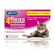 JOHNSONS 4 FLEAS  (12) TABLETS FOR CATS   ( 2 BOXES 6 TABS IN EACH )