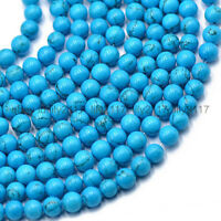 """Natural 8mm Blue Turquoise Round Gemstone Loose Beads 15"""" Strand"""