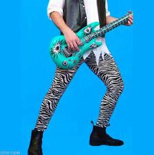 80's Zebra Print Pants Mens Fancy Dress Costume Rock Star 1980s
