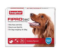 Beaphar Fiprotec Spot On Medium Dogs (10-20kg) 3 Treatments Flea Tick 15 Weeks