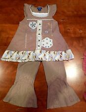 Girls Naartjie Outfit Size 7- Chocolate / Periwinkle