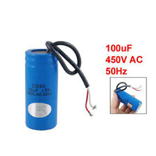 100uF 450V AC CD60 2 Black Wire Lead Motor Start Run Capacitor BTSZUK