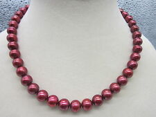 AAA++ 9-10MM SOUTH SEA PERFECT ROUND RED PEARL NECKLACE 14K 18""