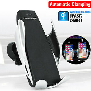 Hot !! Automatic Clamping Wireless Car Charger Air Vent Mount Holder IOS Android