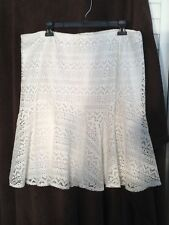 Studio JPR Woman's Extra Large White Crocheted Fully Lined Skirt NWT