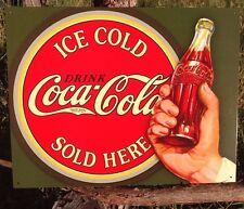 COKE Coca Cola Sign Tin Vintage Garage Bar Decor Old Ice Cold SOLD HERE