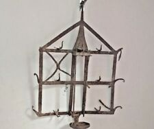 Vintage Old Iron Handcrafted Primitive Tribal Wall Hanging Oil Light Lamp