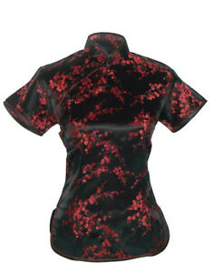 UK Chinese Black & wine red Cherry Blossom Satin Short Sleeve Top Shirt  Blouse