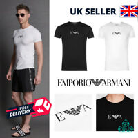 Emporio Armani Mens Underwear T-Shirt White Black Cotton Chest Logo New Tee S XL