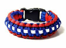 Premium 550 Paracord Survival Bracelet Red White Blue 5/8-Buckle Hand Made USA 9
