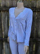 Hanro Of Switzerland Womens Small Blue White Stripe Two Piece Pajama Set