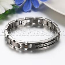 "Men's Silver Black Tone Stainless Steel Rhinestone Bracelet Chain Bangle 8.66"""