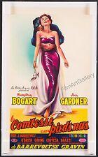 """THE BAREFOOT CONTESSA 1954 Rare 14""""x23"""" Ava Gardner poster linen Humphrey Bogart"""