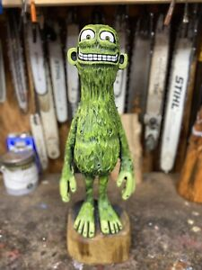 SILLY MONSTER Chainsaw Carving BLACK WALNUT Wooden MONSTER Statue ONE OF A KIND!