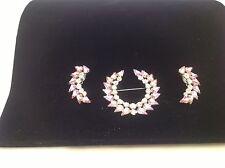 Jewelry Costume Vintage Ben David Brooch Earrings Set Pink & Clear Rhinestones