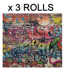 Graffiti Wallpaper Street Brick Wall Children Kids Teenager Tag Textured 3 Rolls