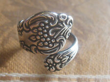 HANDMADE USA  VINTAGE ANTIQUE  ADJUSTABLE SILVER SPOON RING SIZES   5-10