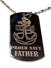 Military Dog Tag Metal Chain Necklace US  Proud Navy Father USN Jewelry