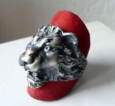 ANELLO con TESTA di LEONE ARGENTO BRUNITO 925 lions ring sterling silver