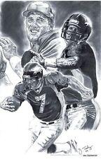 Denver Broncos John Elway drawing sketch art poster