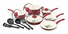 Nonstick Ceramic Cookware Set GreenLife 14 Piece Soft Grip Pot Pan Roasting New