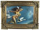 """Michael Parkes """"Night Flight"""" Limited Edition Giclee on Canvas Nude Swans 49"""""""