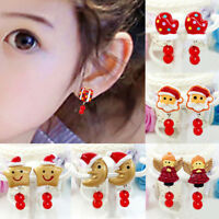 Lovely Girl Kids Lady Christmas Earrings Clip on No Ear Piercings Party Suppl EC