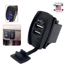 Blue 12-24V 3.1A LED Car Auto Dual USB Power Supply Charger Port Socket New