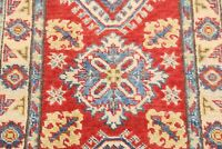 Geometric South-western 2'x3' RED/IVORY Kazak Traditional Area Rug Hand-Knotted