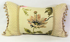 CROSCILL Daphne Floral Pattern Boudoir Decorative Throw Pillow Tan Gold 12 x 20