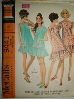 Nightgown Robe Sleepwear Sewing Pattern 9441 McCalls M 10 11 12 Cut Vtg 60's