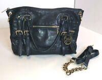 Michael Kors Navy Blue Leather Buckle Messenger Shoulder Tote Bag