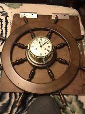 """Vintage 29"""" Diam. Schatz & Sohne Ships Wheel Clock"""
