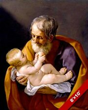 JOSEPH HUSBAND OF MARY HOLDING BABY JESUS PAINTING BIBLE ART REAL CANVAS PRINT