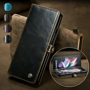 Stand Cover For Samsung Galaxy Z Fold 3 5G Flip Case Card Slot Retro Leather
